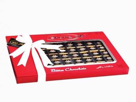شکلات شونیز مربع تلخ روباندار قرمز